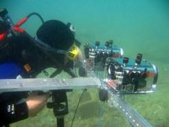 Technion graduate student Yohay Swirski taking underwater photos