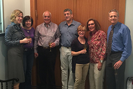 (l to r) ATS Southern Region Assistant Director Kelley Whiter, Eileen Seskin, Chapter President Les Seskin, Eric Stein, Past Chapter President Nancy Aronson, Roz August, Jan Kronish
